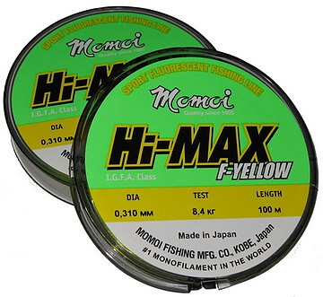 Леска Hi-Max F-Yellow 0,31 мм тест 8,4 кг 100 м